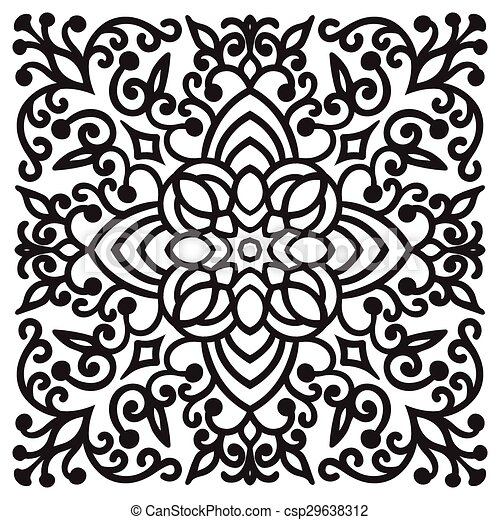 Handzeichnung zentangle Mandala Element - csp29638312