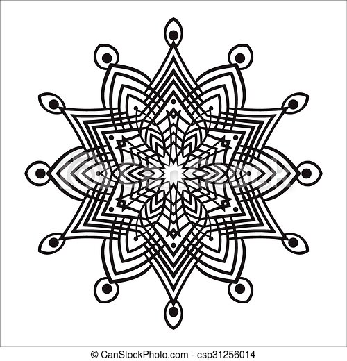 zentangle, mandala, zeichnung, hand, element - csp31256014