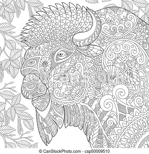 Zentangle Stylized Bison Coloring Page Of Buffalo American