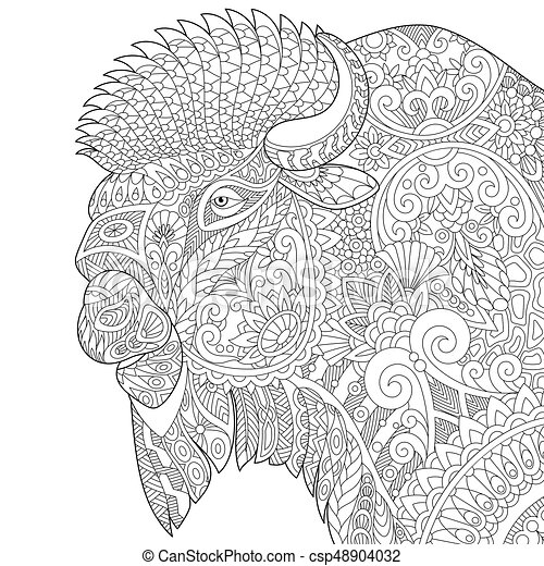 - Zentangle Stylized Buffalo. Coloring Page Of Buffalo, American Bison, Bull.  Freehand Sketch Drawing For Adult Antistress CanStock