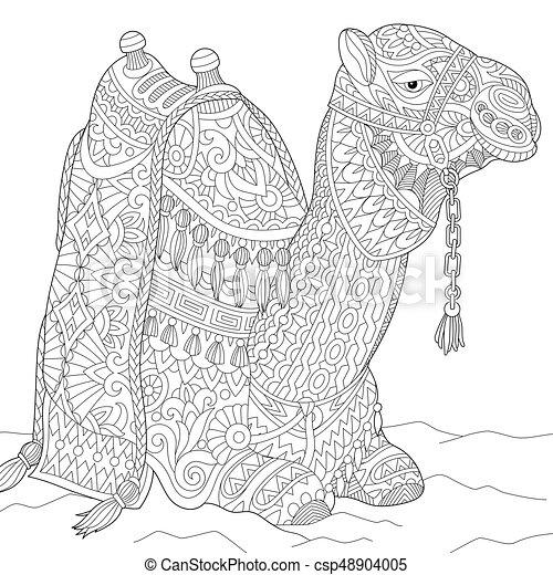 Zentangle stylized camel - csp48904005