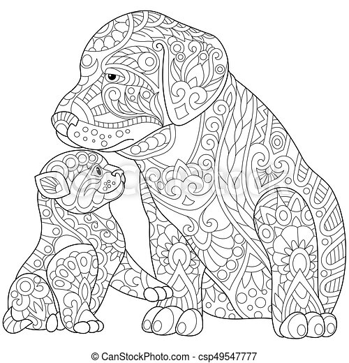 Zentangle Stylized Cat And Dog Coloring Page Of Cat Young Kitten And Labrador Dog Freehand Sketch Drawing For Adult Canstock