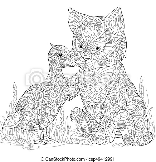 Zentangle stylized cat and duck - csp49412991