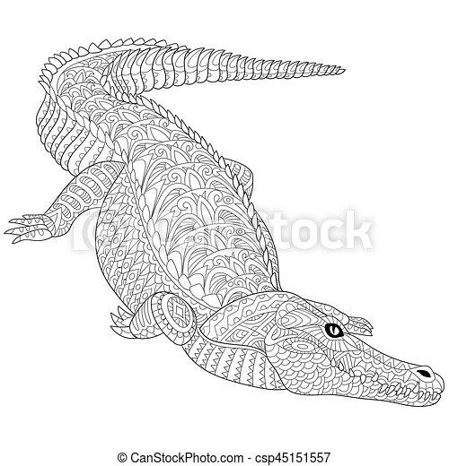 Zentangle stylized crocodile (alligator) Coloring page of crocodile ...