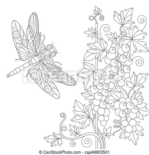 Coloring Page Of Dragonfly And Grape Vine Freehand Sketch Drawing For Adult Antistress Book In Zentangle Style