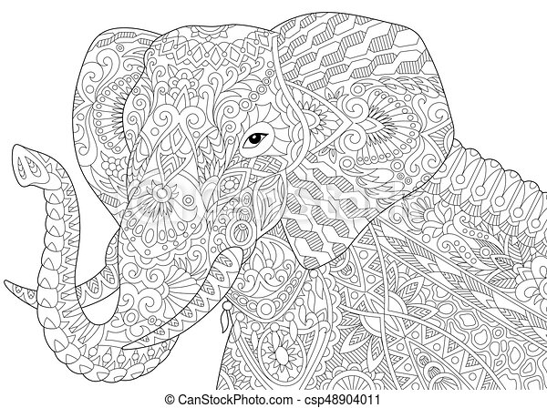 zentangle stylized elephant coloring page of african or indian