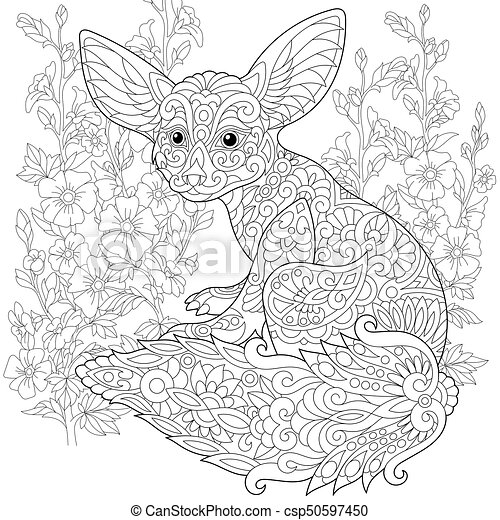 Zentangle Stylized Fennec Fox