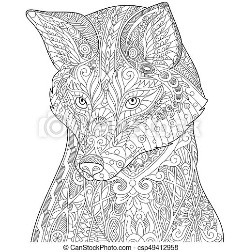 Zentangle Stylized Fox Coloring Page Of Isolated On White
