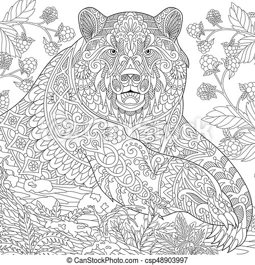 zentangle stylized grizzly bear vector - Grizzly Bear Coloring Pages