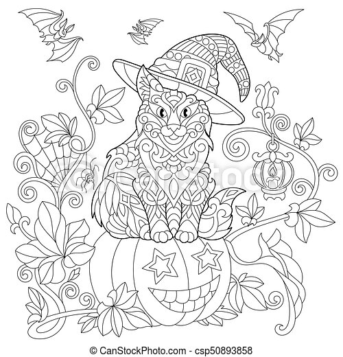 Zentangle stylized halloween cat - csp50893858