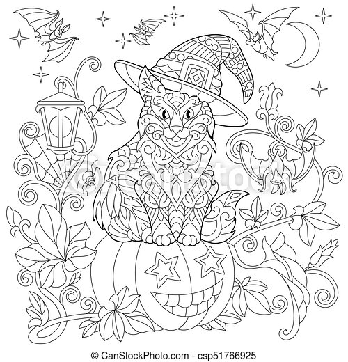 Zentangle stylized halloween cat - csp51766925