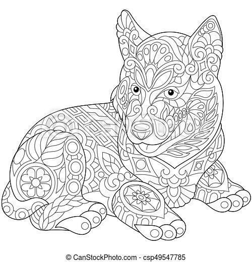 vector zentangle stylized husky - Husky Coloring Pages