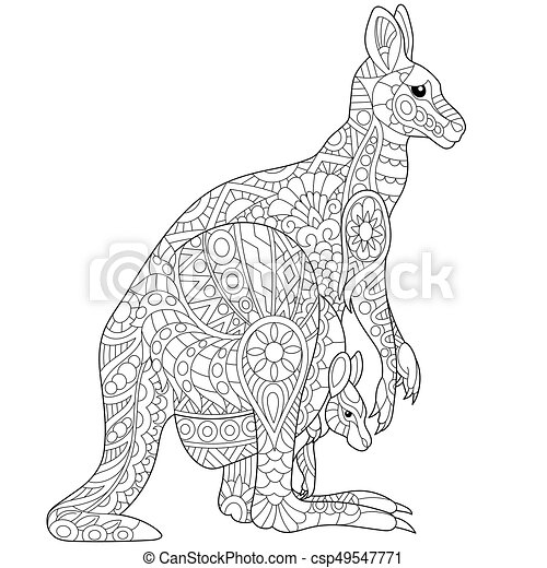 Zentangle Stylized Kangaroo Coloring Page Of Australian