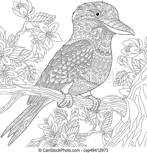 Zentangle Stylized Kookaburra Bird