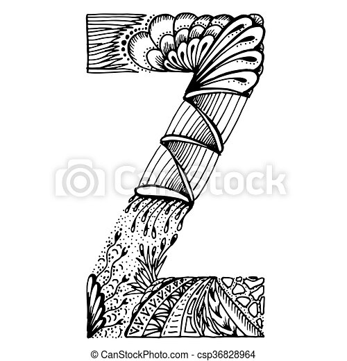 Zentangle Stylized Letters Letter Z Vector Illustration Black