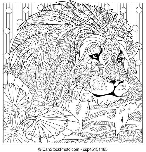 Zentangle stylized lion. Coloring page of lion (wild cat, leo ...