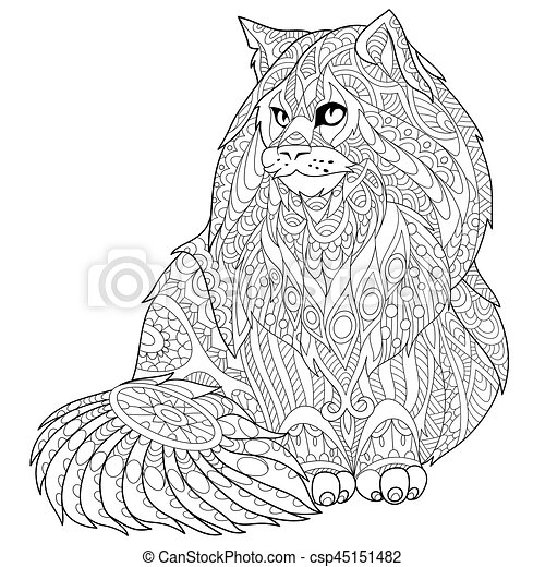 Zentangle Stylized Maine Coon Cat Coloring Page Of Maine