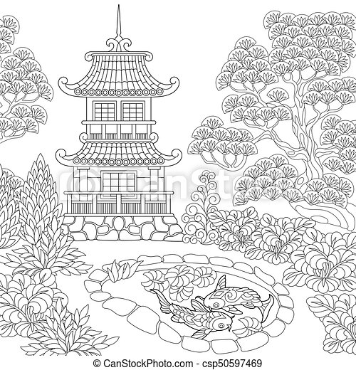 Zentangle Stylized Pagoda Coloring Page Of Oriental Temple