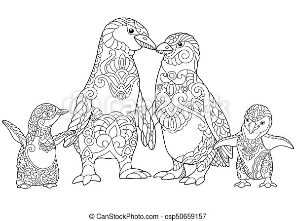 Zentangle stylized penguins family. Coloring page of emperor ...