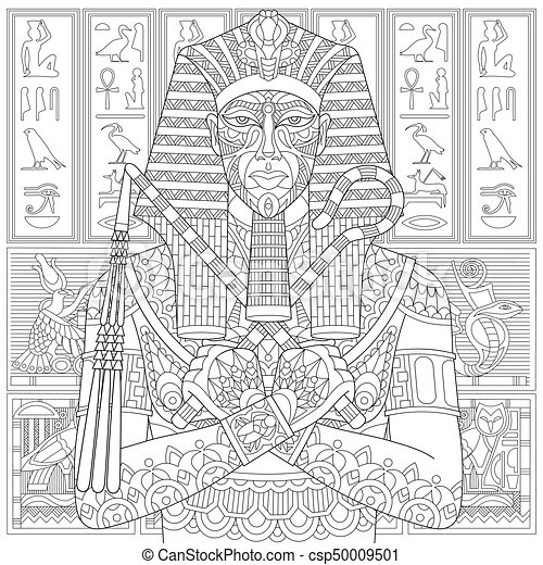 Zentangle Stylized Pharaoh Coloring Page Of Ancient And