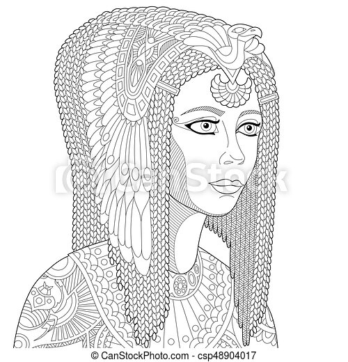 Coloring Page Of Ancient Egyptian Queen Cleopatra Or Nefertiti Freehand Sketch Drawing For Adult Antistress Book In Zentangle Style