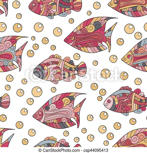 Zentangle stylized sea shell seamless pattern. Hand Drawn aquatic doodle vector illustration. Ocean life. Shells, starfish, fish, horse. Bright hot colors on vinous background. - csp44095413