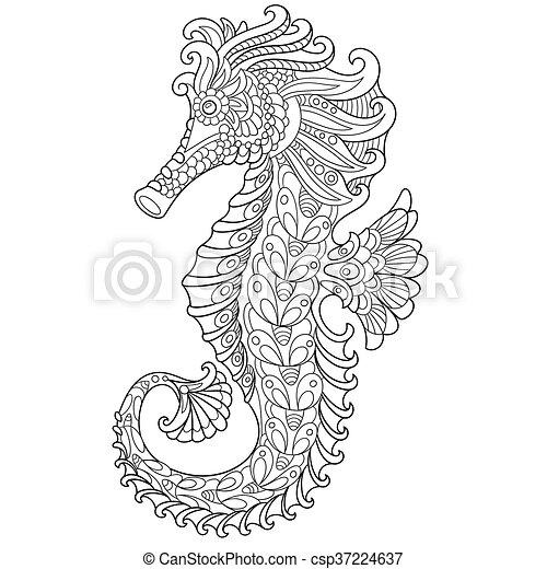 zentangle stylized seahorse vector