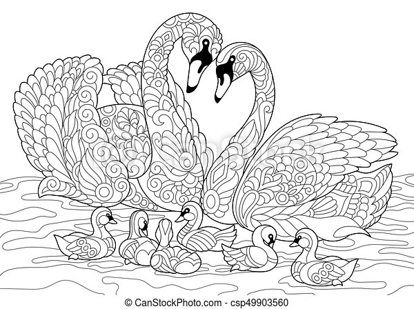 Zentangle stylized swan birds family. Coloring page of swan birds ...
