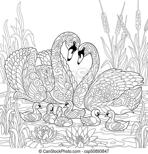 Zentangle Stylized Swan Birds Family