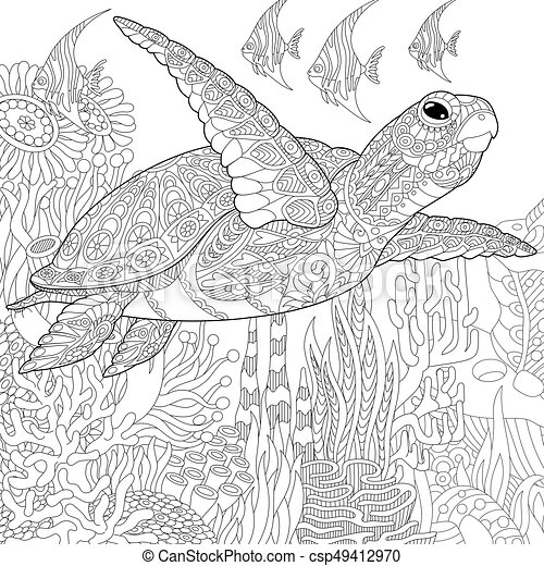 Zentangle stylized turtle and fish