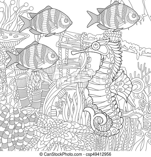 zentangle stylized underwater scene coloring page of coral reef World Atlas Singapore zentangle stylized underwater scene csp49412956