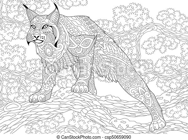 Zentangle stylized wildcat. Coloring page of wildcat (lynx,... eps ...
