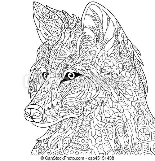 Zentangle stylized wolf - csp45151438