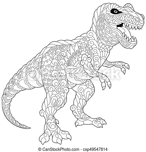 Zentangle Tyrannosaurus Dinosaur. Coloring Page Of Tyrannosaurus Rex  Dinosaur Of The Late Cretaceous Period. Freehand Sketch CanStock