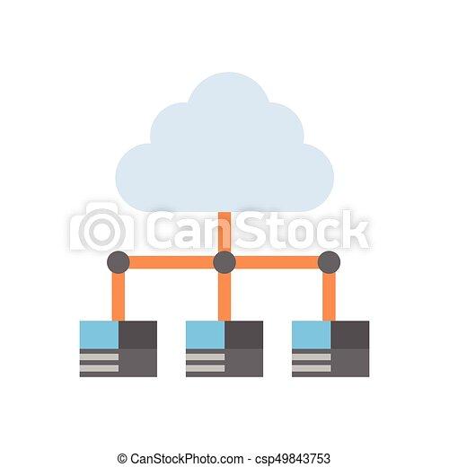 Cloud Rechenzentrum Icon Computer Verbindung Hosting Server Datenbank synchronisiert Technologie - csp49843753