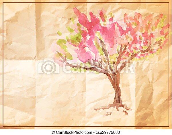 Zerknittert Vektor Altes Gemalt Baum Papier