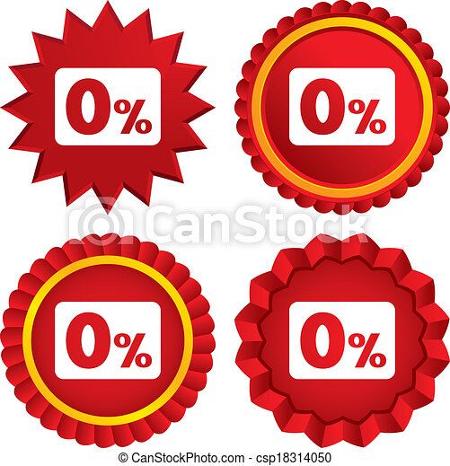Zero percent sign icon. Zero credit symbol. - csp18314050