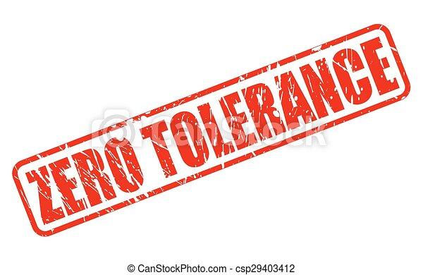 ZERO TOLERANCE red stamp text - csp29403412