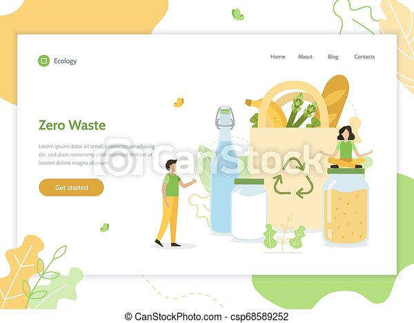 Zero Waste Web Banner Zero Waste Ecology Lifestyle Web Banner Design Template Flat Vector Illustration
