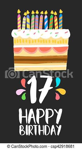 jarig 17 Zeventien, 17, jarig, jaar, taart, feestje, kaart, vrolijke  jarig 17