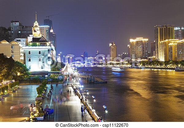 zhujiang river and modern buildings at night in guangzhou china
