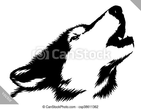 Ziehen, abbildung, farbe, wolf, schwarz, weißes. Ziehen,... Clipart ...