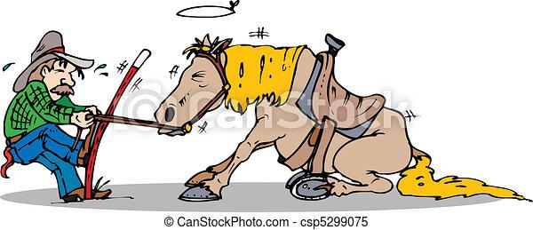 ziehen, pferd, start - csp5299075