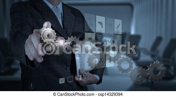 zieht, ausrüstung, geschäftsmann, hand, erfolg - csp14329394