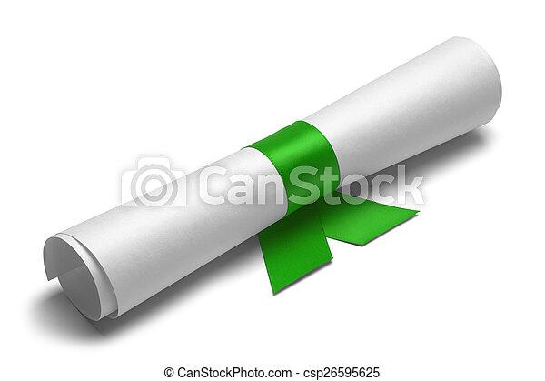 zielony, dyplom, wstążka - csp26595625