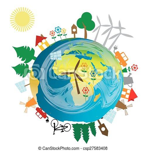 ziemia, ekologiczny, pojęcie, kula - csp27583408