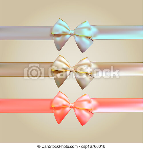 zijde, set, lint, kleurrijke, boog - csp16760018