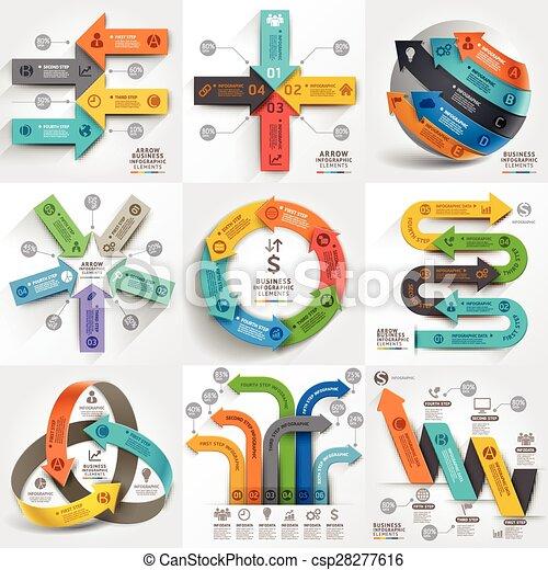 zijn, gebruikt, elements., zakelijk, workflow, marketing, opties, pijl, getal, opmaak, diagram, infographic, web, tijdsverloop, template., spandoek, ontwerp, groenteblik - csp28277616