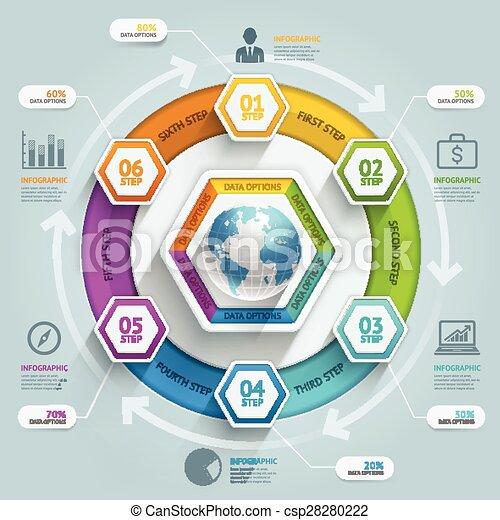 zijn, gebruikt, illustration., diagram, workflow, tijdsverloop, opties, op, getal, opmaak, vector, web, richtingwijzer, 3d, stap, spandoek, zeshoek, infographics., design., groenteblik - csp28280222
