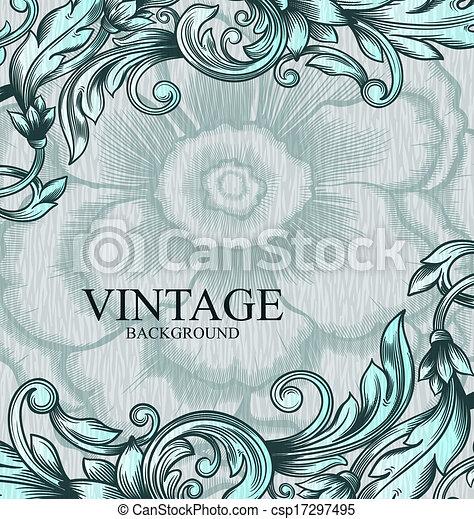 zijn, gebruikt, scrapbooking, kaart, ouderwetse , abstract, pattern., hand, uitnodiging, achtergrond., vector, ontwerp, groenteblik, trouwfeest, getrokken, others., element., koninklijk - csp17297495
